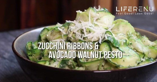 Keto Zucchini Ribbons and Avocado Walnut Pesto