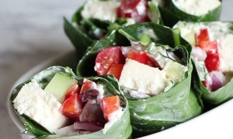 Keto Vegetarian Greek Collard Wraps